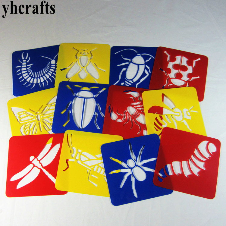 12PCS/LOT Insect art stencils 20 design choose drawing stencils Template Drawing toys Birthday gifts Kindergarten arts and craft