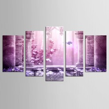 5 Piece wall art home decor purple butterfly pictures for living room picture paintings