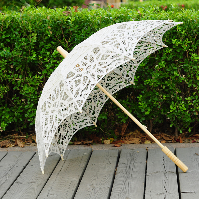 QUNYINGXIU Zanaat Dantel Bej Şemsiye El Yapımı Pamuk Dans - Ev Eşyaları - Fotoğraf 1
