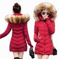S-3XL NEW casacos de Inverno Mulheres Parkas Outerwear Jaqueta Feminina grande Gola De Pele Plus Size grosso Longo morno mulheres Inverno casaco