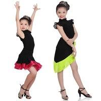 בנות ילדים ילדי שמלת ריקוד לטיני סלוניים מודרני הירוק פרינג 'סלסה טנגו ללבוש ללבוש שלב ביצועי שחור
