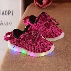 Fashion Children's Luminous  Sneakers Comfortable Breathable Boys Sports Shoes Mosaic Cotton Non-slip Wearable kids shoes