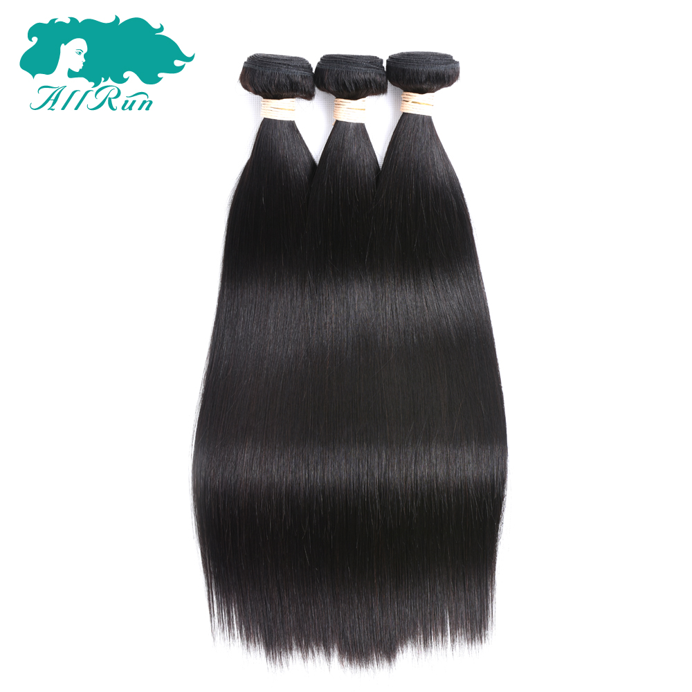 Allrun Pre-colored Straight Peruvian Human Hair Weaves 3PC/lot None Remy Hair Bundles Extensions Free Shipping