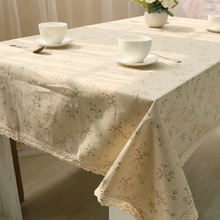 Flower Linen Table Cloth Country Style Print Multifunctional Rectangle Cover Tablecloth With Lace mantel mesa