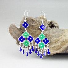999 Sterling Silver Blue Green Earrings For Women Accessorie Flower Cloisonne Enamel Jewelry Handmade Ethnic Tassel Earing Drop
