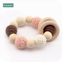 Bopoobo 1PC Baby Teething Natural Wood Ring Crochet Beads Organic Infant Neutral Gift Toys Nursing Baby Teether