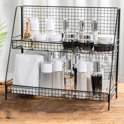 Iron Art Makeup Home Organizer Storage Shelf Multifunction 2 Layers Storage Shelf Kitchen Storage Tool Bathroom Table Organizer