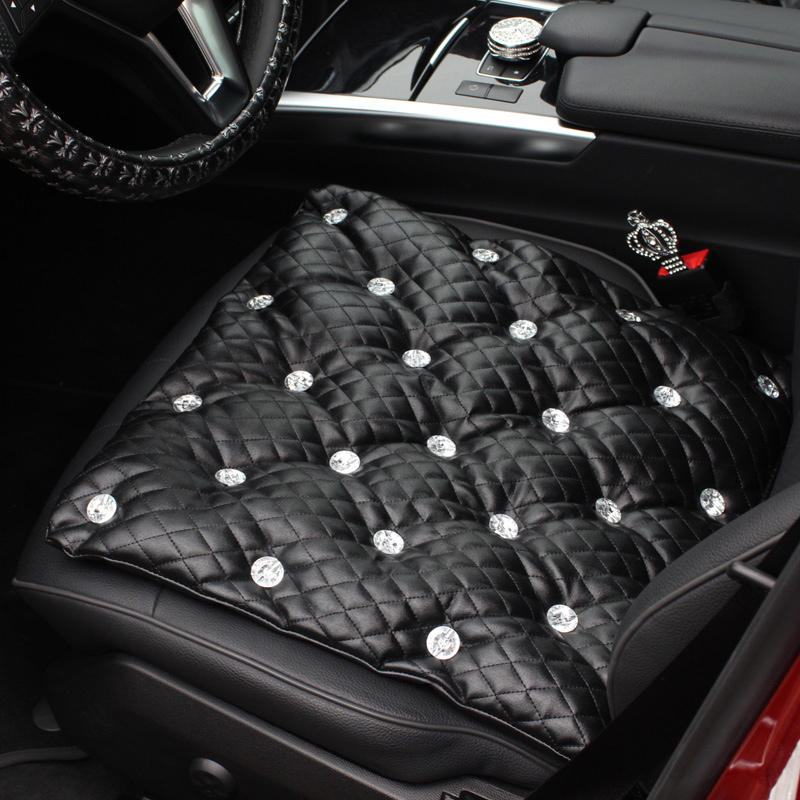 Luxury Studded Rhinestone Car Seat Cushion For Woman and Girls Crystals Car Front Seat Cover Universal Auto Back Seat Cushion pillowcase classic style wave pattern car comfy back cushion cover