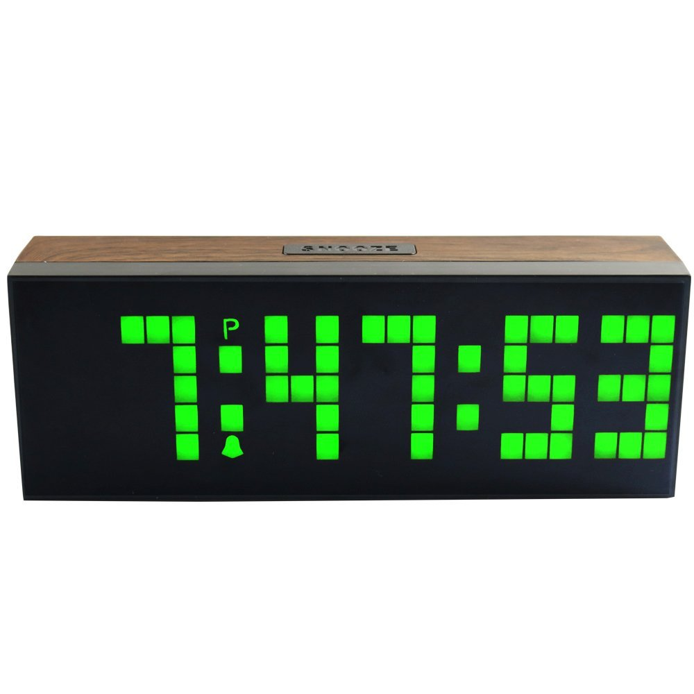 Wooden led digital alarm clock wall or desk electronic led clock wooden led digital alarm clock wall or desk electronic led clock large digits show calendar and temperauture in underwear from mother kids on amipublicfo Gallery