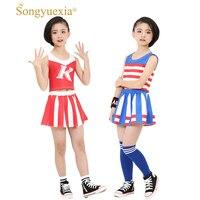 Songyuexia Children Cheerleading dance Costumes Hip Hop jazz Modern dance child costume studerent costume jazz nero 110 160cm