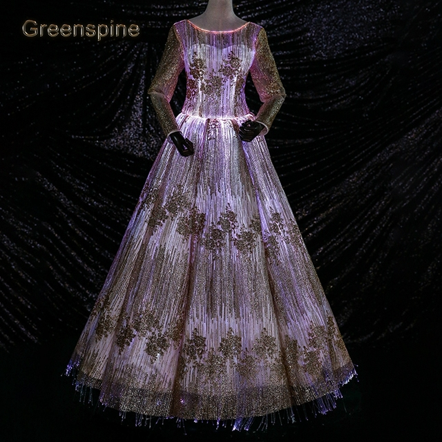 1b98f86ab38 Luminous Fiber Optic Wedding Dress 2019 Robe Blanche Mariage Lace UP Glow -In-The-Dark LED Bridal Gown Dresses Custom Made