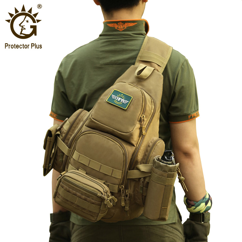 Protector Plus 20-35L Tactical Sling Bag, 14'' Laptop Waterproof Molle Military Backpack, Camping Hiking Hunting Sport Bag