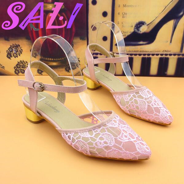 12 color elegant womens shoes with thick with the sweet lace hollow tip breathable sandals buckle sandals shoes