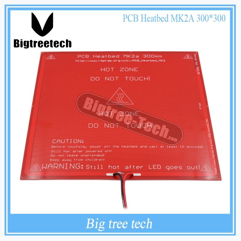 300*300*2.0 MK2A RepRap RAMPES 1.4 PCB Heatbed MK2A avec led Résistance et câble pour Mendel 3D lit chaud d'imprimante bricolage XT0027-3D