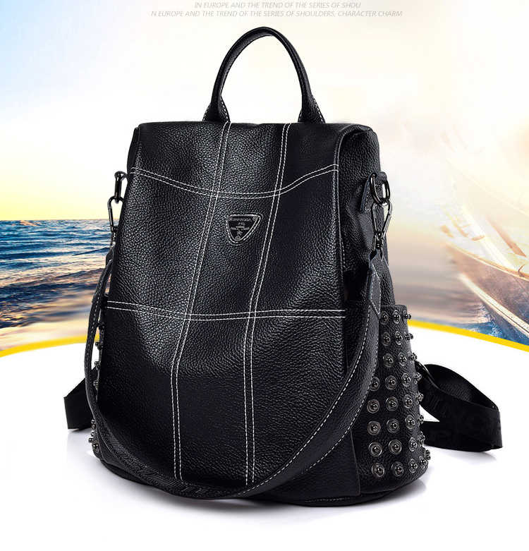 8a08e7a59afd ... 100% Genuine Leather Fashion Women Backpack High Quality Youth Backpacks  for Teenage Girls Female School ...