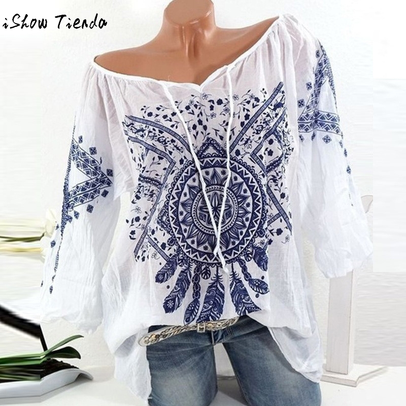 Summer Floral Print Women Blouse Summer Top Plus Size Long Sleeve Shirt Harajuku Printed Blusas Feminina Tops And Blouses#GHC