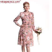 Vacation Dresses Women 2019 New Summer Fashion Floral Print Sweet Slim V-Neck Empire Knee-Length Pink Hot Sale Popular Dress(China)