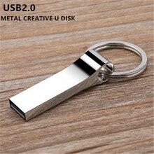 Новый usb флэш-накопитель высокоскоростной USB 2,0 Флешка 4 ГБ 8 ГБ 16 ГБ 32 ГБ 64 ГБ 128 ГБ флеш-накопитель металлический флеш-накопитель серый логотип на заказ