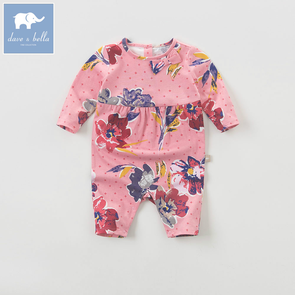 DB5728 dave bella autumn new born baby cotton romper infant clothes girls purple cute floral romper baby 1 piece pudcoco newborn infant baby girls clothes short sleeve floral romper headband summer cute cotton one piece clothes