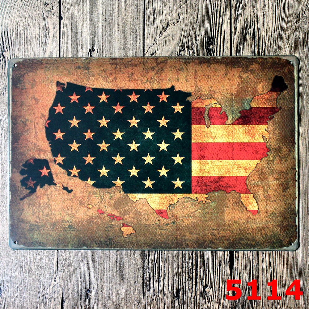 VINTAGE american MAP DESIGN Metal Wall Sticker IRON Plaque PUB Wall Sticker house Tin Si ...