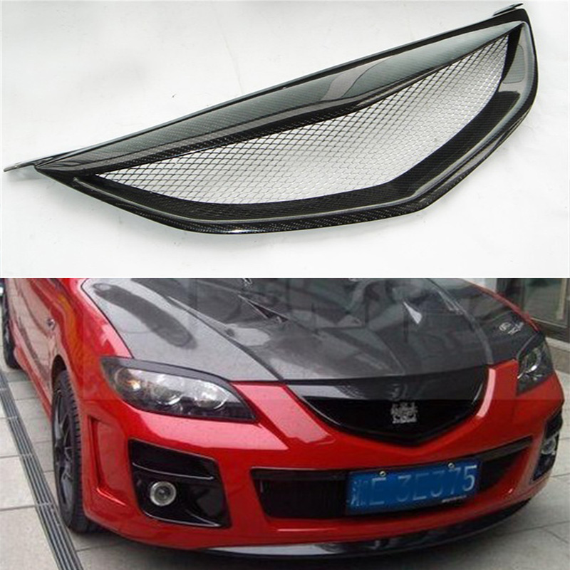 Axela Carbon Fiber Auto Car Front Bumper Mesh Grill Grille for Mazda 3 2006-2009 Not Logo pp class front car mesh grill sport style fit for benz w203 c 2000 2006