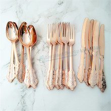 60 Sets/180pcs Metal Rose/Gold/Silver Plastic Cutlery Carved Embossed Set Spoon Fork Wedding Party Arrangement Supplies
