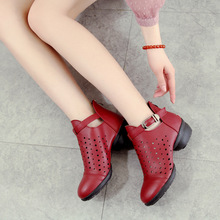 Dance Shoes Woman Leather Summer Sports Square Soft Bottom Sneaker Dancing Increased Modern Boots