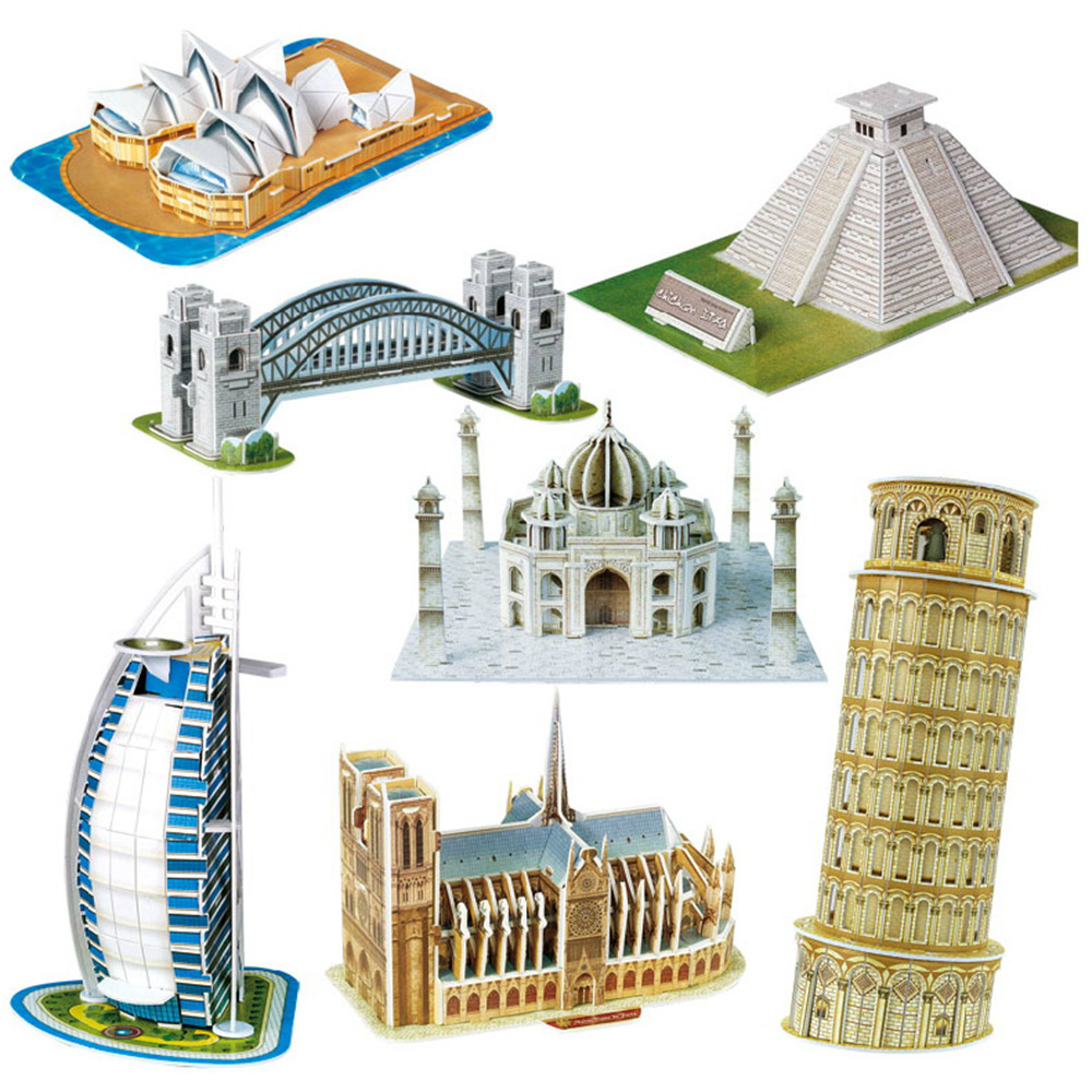 BOHS Scale Paper Miniature Model Eiffel Tower Bridge Great Wall Leaning Tower 3d Puzzle for Children World Great Architecture ювелирное украшение из шифона eiffel tower с бриллиантами от 18s rose golds