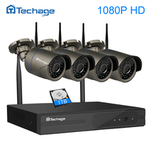 Techage 4CH 1080P Plug and Play Wireless NVR Surveillance Kit P2P 2MP FULL HD Indoor Outdoor Security IP Camera WIFI CCTV System