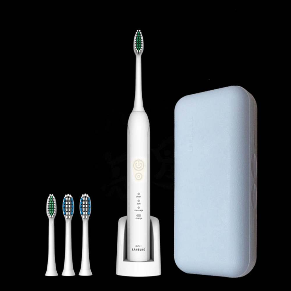 Teeth Brush Ultrasonic Sonic Electric Toothbrush Wireless Charge Oral Hygiene Electric Tooth Brush With 4 Replace Heads Gifts 2pcs philips sonicare replacement e series electric toothbrush head with cap