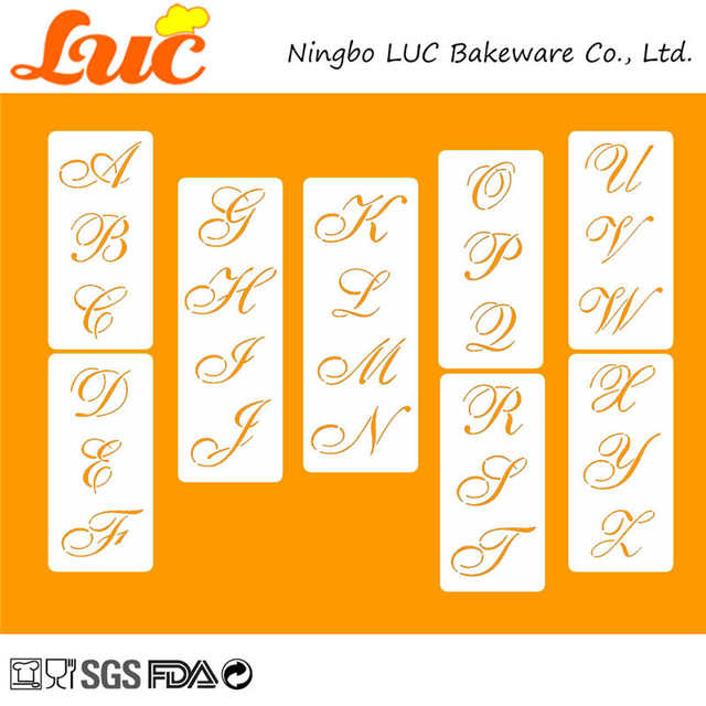 US $15 99 30% OFF|LUC 2 25 inch High Cake Stencil Set Latin Text Font  Letters Alphabet Wedding Cake Decorating Tools Cookie Cutter Stencil Set-in  Cake
