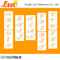 LUC 2.25 inch High Cake Stencil Set Latin Text Font Letters Alphabet Wedding Cake Decorating Tools Cookie Cutter Stencil Set