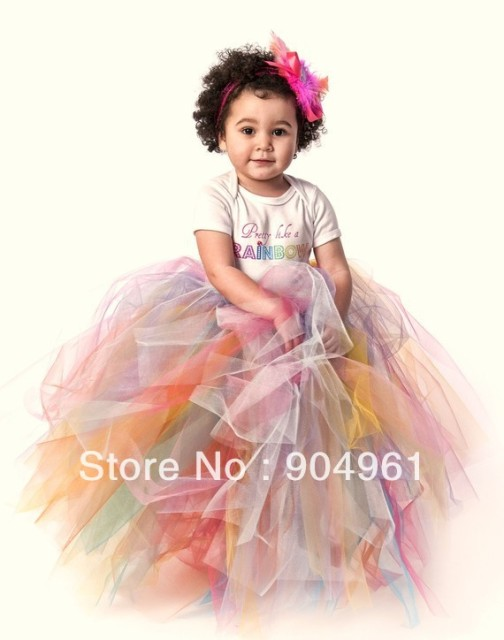 retail Tutu Baby Tutu The Pretty Like a Rainbow extra full reversable tutu skirt long skirt  girls birthday skirt