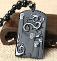 Wholesale Natural Black Obsidian Carved Dragon Lucky Amulet Pendants Free Beads Necklace fashion Pendant Jewelry