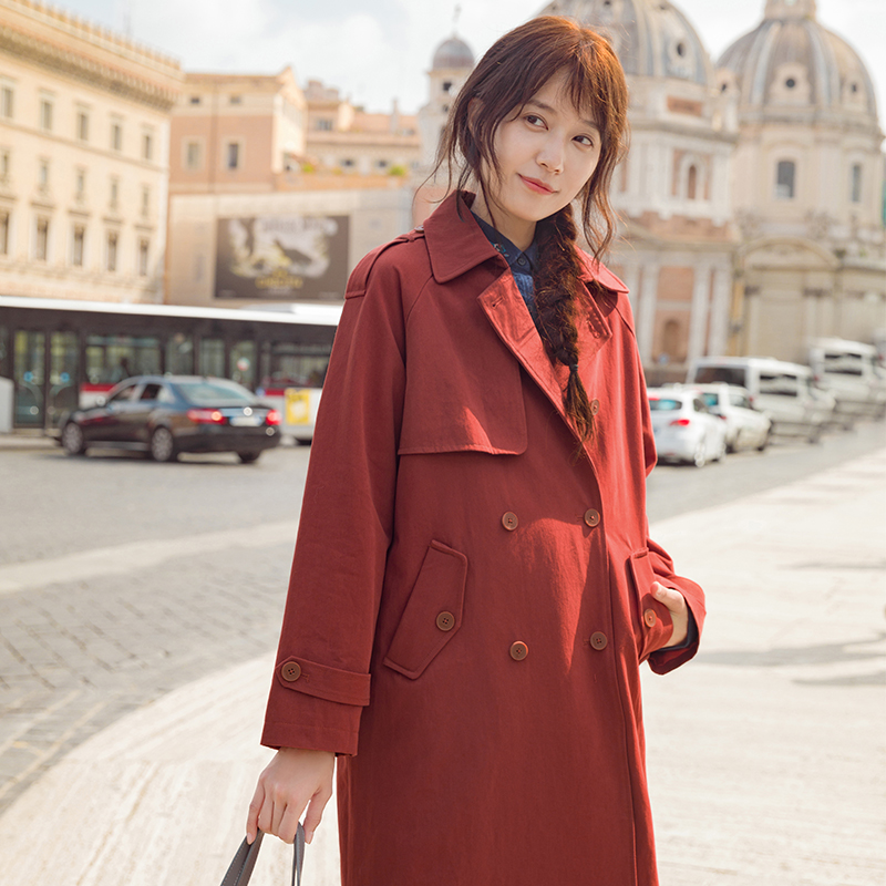 INMAN 2018 Autumn Cotton Solid Color Women Double Breasted Turn Down Collar Fashion   Trench   Coat
