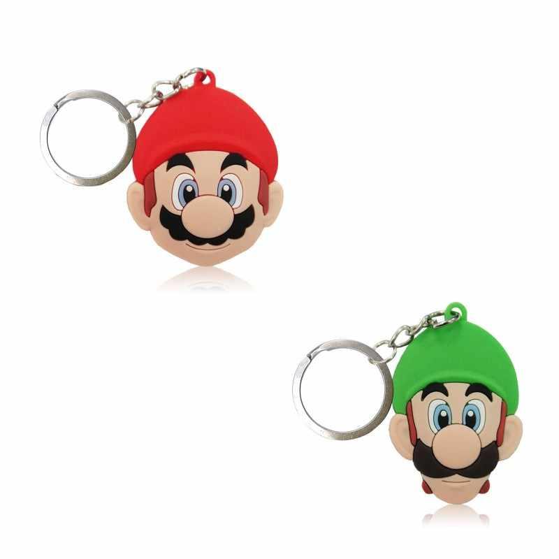 2 pçs/lote Super Mario Dos Desenhos Animados Keychain DO PVC Anel Chave Dos Desenhos Animados Anime Figura Para Crianças Toy Pingente Chave Titular Moda Encantos bugiganga