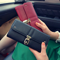 High quality Hasp lock wallets PU leather purse Two folds Long Design Wallets Coin Purses Card Holder bag