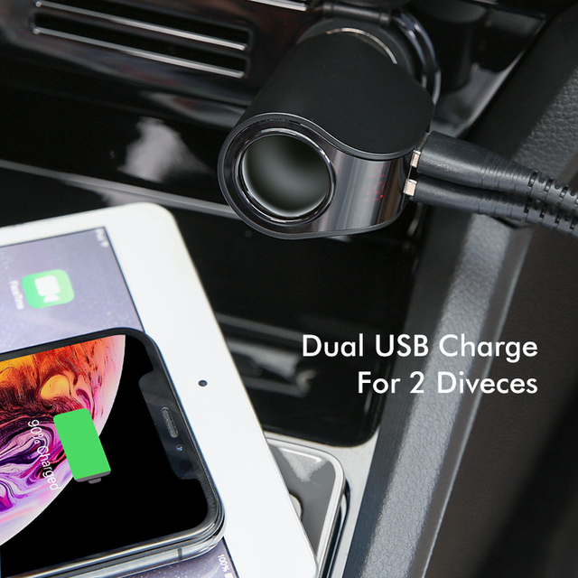 FLOVEME Car Charger Dual USB Digital Display Cigarette Lighter 5V 3.1A Phone Charger Adapter For Xiaomi iPhone USB Car-Charger
