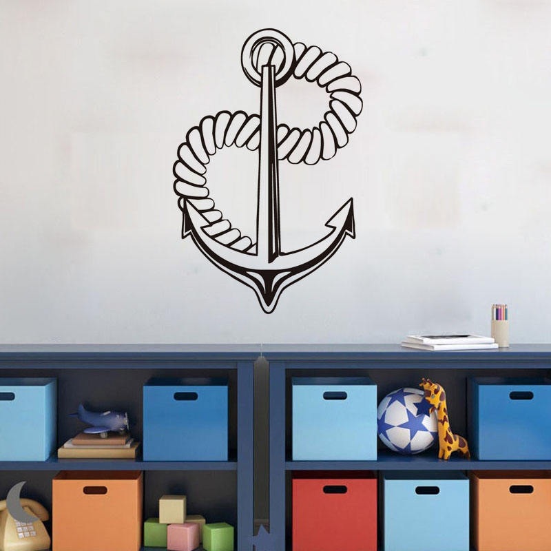 Nautical Wall Stickers Part - 20: Funny Nautical Anchor Vinyl Wall Sticker Home Decor For Kids Rooms  Waterproof Anchor Wall Declas(