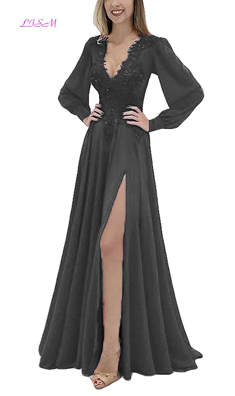 Long Sleeve Lace Evening Dress A-Line V-Neck Chiffon Evening Gowns Sexy Split Backless Arabic Dress Applique Bead robe de soiree