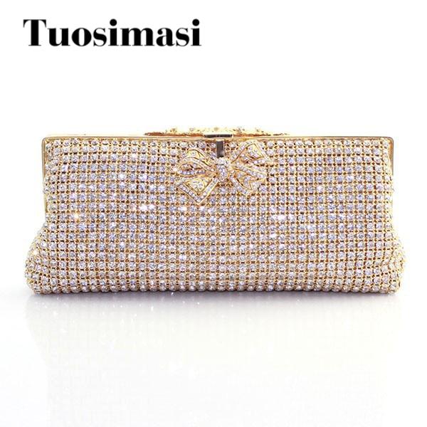 Golden Color Soft  Diamond Ladies Crystal Clutch Wedding Pouch Evening Bag