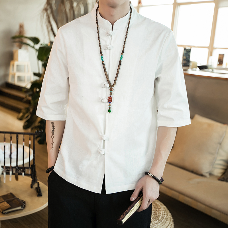 Chinese style summer fashion man's Pure color linen Short sleeve shirt high-grade male comfortable slim fit leisure shirt M-5XL 36