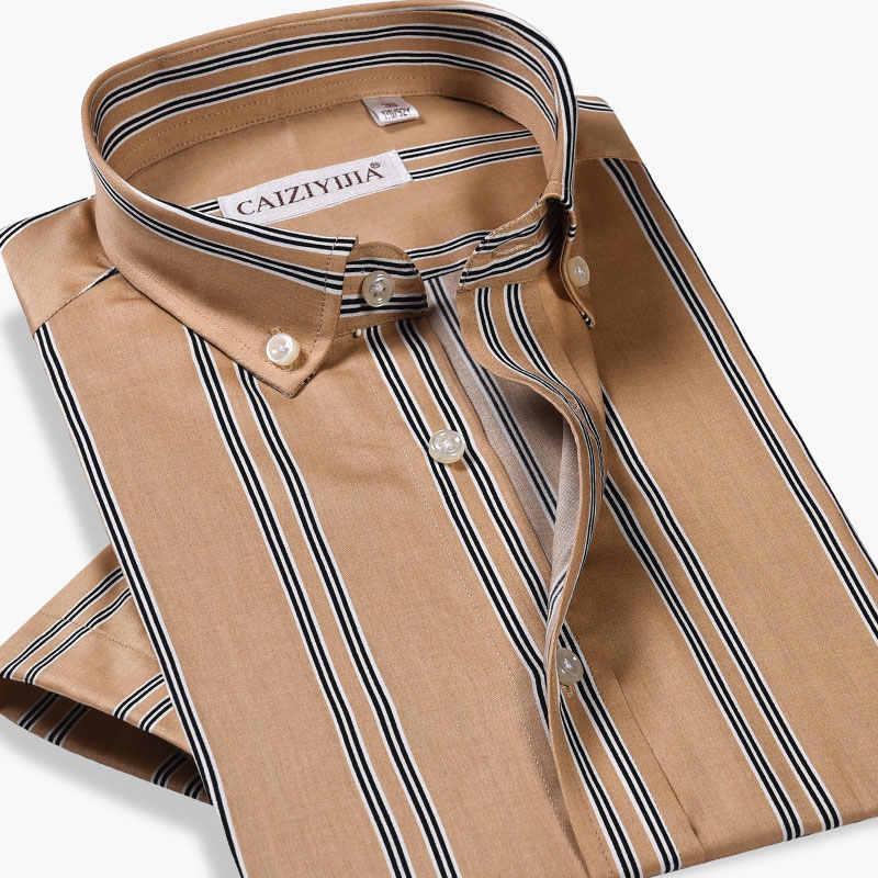 Модная Роскошная Летняя мужская рубашка с коротким рукавом из 100% хлопка, мягкая высококачественная повседневная рубашка в полоску в деловом стиле