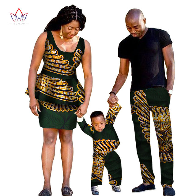 2019 african traditional Clothing Fashion Family Matching Clothes Brand Father Mother and Son Baby cotton Sets 5 pieces BRWYQ33