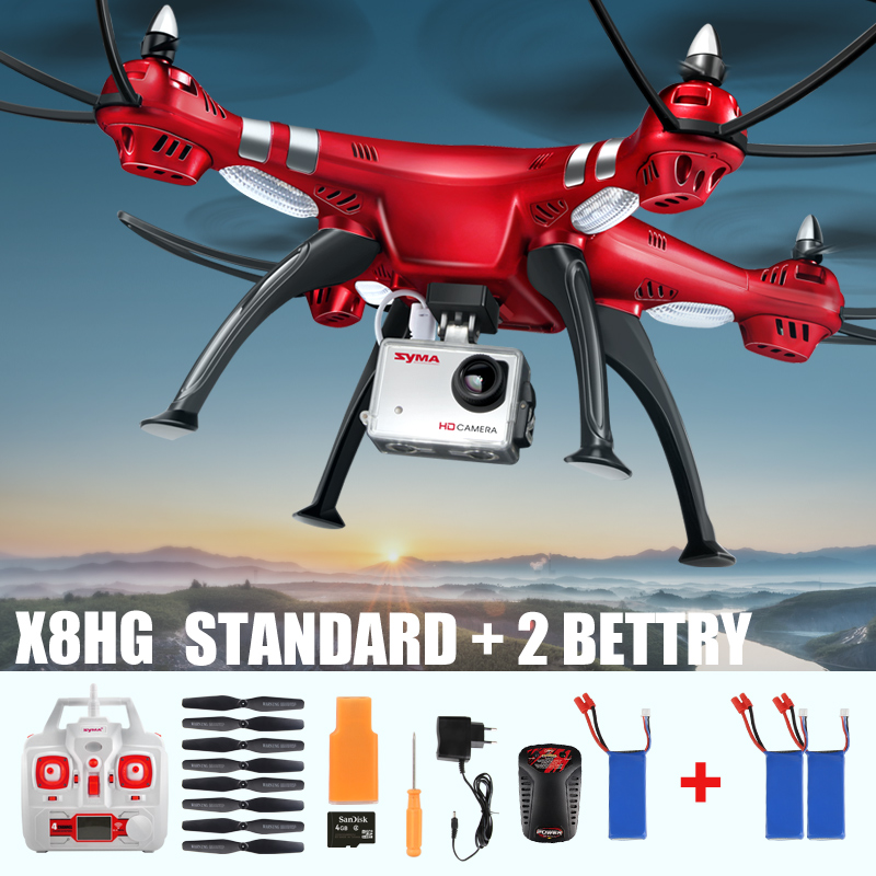 ФОТО syma x8hc x8hg 6-axis with hd camera x8hw 3 battery with wifi real-time rc quadcopter fix high hover uav drone helicopter toys