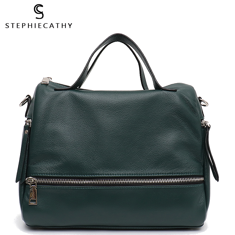 SC Genuine Leather Boston Totes Bag Girls Zipper Multi Pockets Top-Handle Bag Large Capacity Cowhide Handbag Femal Crossbody Bag