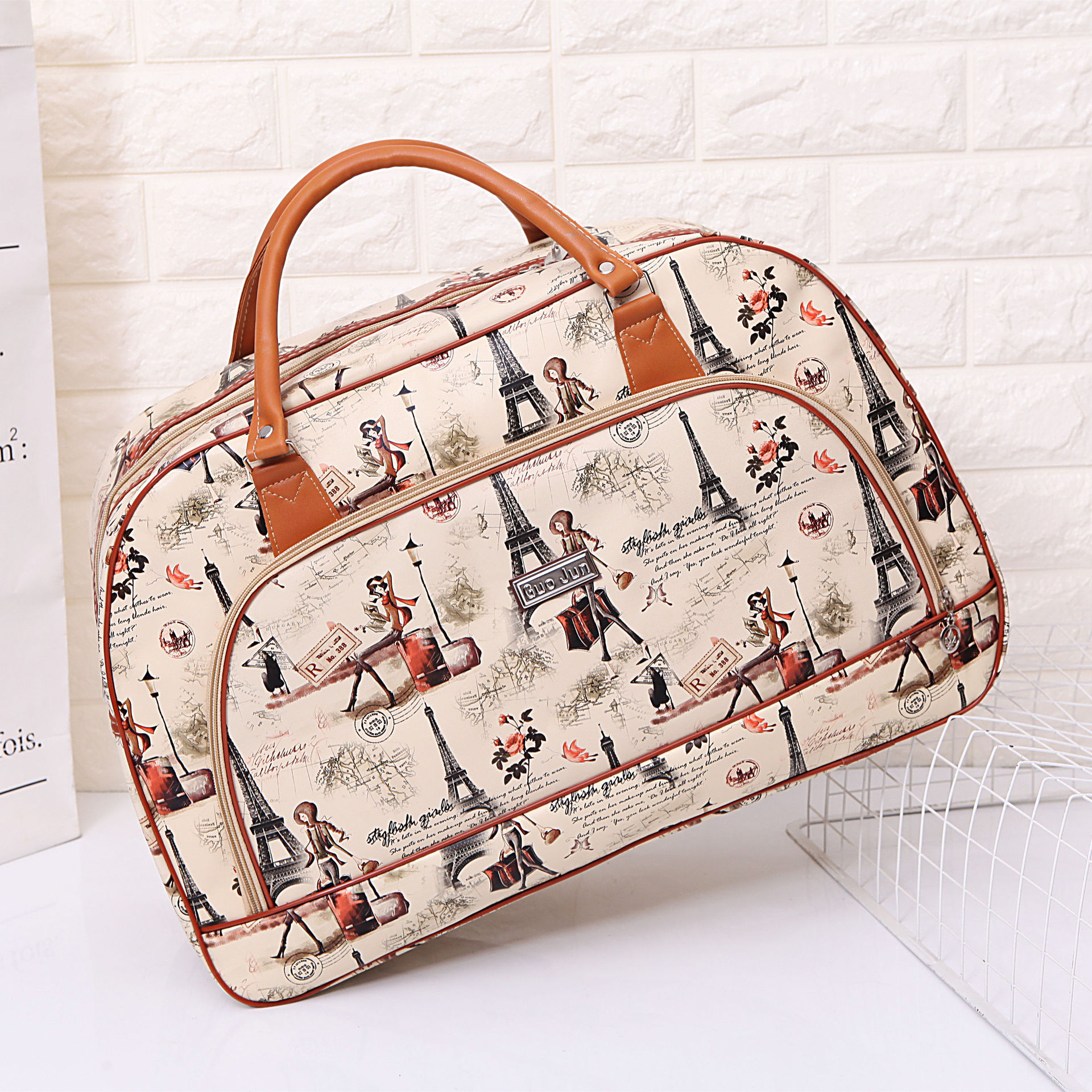 Women Travel Bags Pu Leather Large Capacity Luggage Duffle Bag Casual Travel Bags Size 54*33*21Cm
