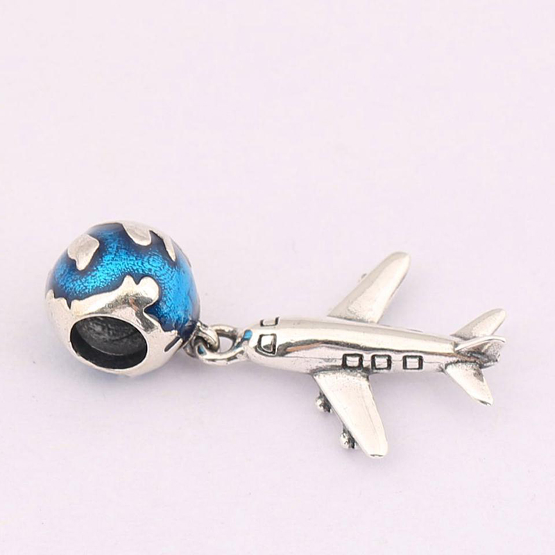 High quality Plane and earth Pendant charms Beads Fit brand charms silver 925 original bead jewelry logo making valentines gift