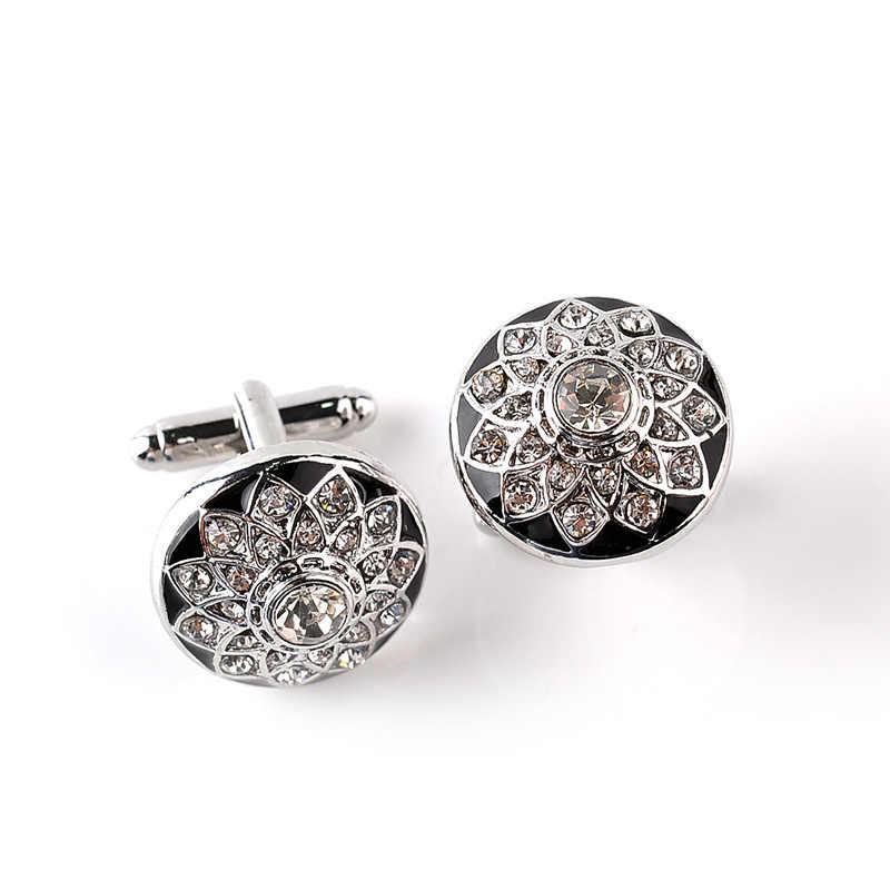 כפתורים עסקיים חולצת גברים צרפתית חפתים חולצת גברים גביש צורת פרח גביש תכשיטי יוקרת מתנות אביזרי
