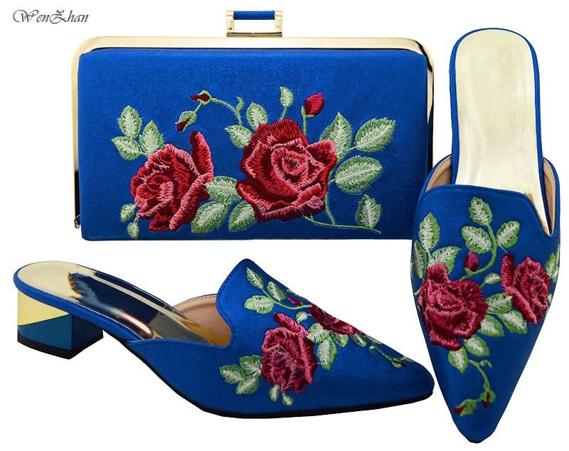 A711 Conception Parti Fleur Assorti Bleu Qualité Pointu 28 Embrayage Dernières Cadeau Bout Ensembles Bonne Chaussures Avec Pour Nigérien Sac TqHxS